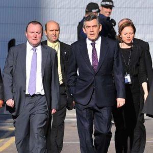 Damian McBride, left, was then prime minister Gordon Brown's special adviser. /Bruce Adams/REX