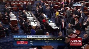 This frame grab from video provided by C-SPAN2, shows the floor of the Senate on Capitol Hill in Washington, Wednesday, Sept. 28, 2016, as the Senate acted decisively to override President Barack Obama's veto of Sept. 11 legislation, setting the stage for the contentious bill to become law despite flaws that Obama and top Pentagon officials warn could put U.S. troops and interests at risk. /C-SPAN2 via AP)