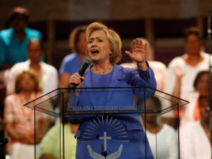 Hillary Clinton campaigns at Canaan Christian Church in Louisville, Kentucky on May 15. /Reuters
