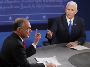 Mike Pence, right, and Tim Kaine at the Oct. 4 vice presidential debate.