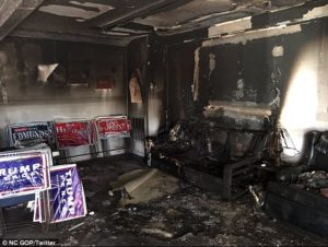 "The Orange County GOP headquarters was a ""total loss"" after it was firebombed on Oct. 16. /NC GOP/Twitter"
