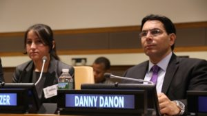 Yazidi refugee Marwa Al Aliko and Danny Danon. /Israeli Mission to the UN