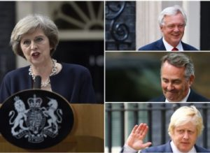Prime Minister Theresa May and, from top, David Davis, Liam Fox and Boris Johnson.