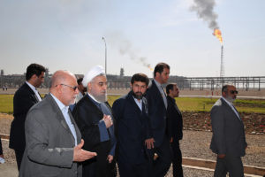 President Hassan Rouhani was on had for the opening of the Yadavaran oilfield.