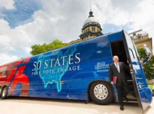 Franklin Graham steps off his tour bus in Springfield, Illinois, on June 14 as part of his Decision America Tour, which will make a stop in Juneau on Friday. Courtesy of the Billy Graham Evangelistic Association