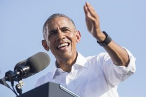 President Barack Obama stumps for himself, and maybe Hillary Clinton too, at the University of North Carolina on Nov. 2.
