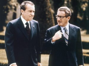 President Richard Nixon and National Security Advisor Henry Kissinger in Vienna, Austria, May 1972. / AFP / Getty