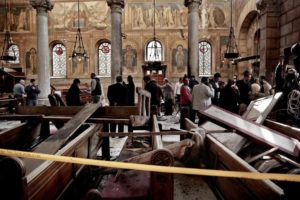 The bombing was carried out during Sunday Mass at a chapel adjacent to St. Mark's Cathedral. /AP