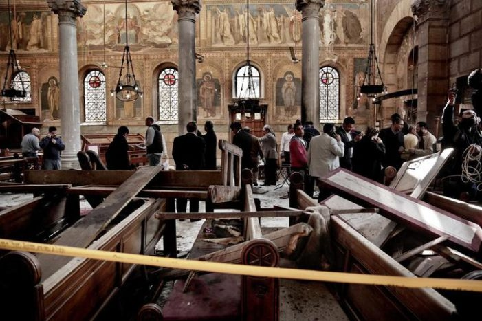 Bomb thown into Coptic cathedral kills 25, mostly women and children