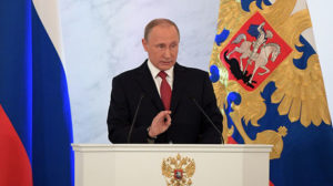 Russian President Vladimir Putin delivers his annual address to the Federal Assembly on Dec. 1.