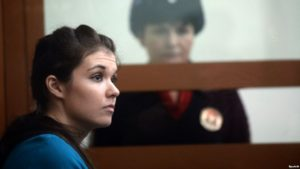 Moscow State University student Aleksandra Ivanova (aka Varvara Karaulova) at a court hearing in Moscow on Dec. 22.