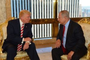 Prime Minister Benjamin Netanyahu and Republican presidential candidate Donald Trump meeting at the Trump Tower in New York on Sept. 25. /Kobi Gideon/GPO