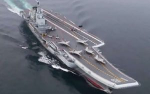 China's Liaoning aircraft carrier with Shenyang J-15 jets on deck. /SCMP