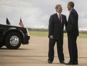Austin City Mayor Steve Adler greets President Barack Obama in Austin Texas on Friday, Mar. 11, 2016. /RICARDO B. BRAZZIELL/AMERICAN-STATESMAN