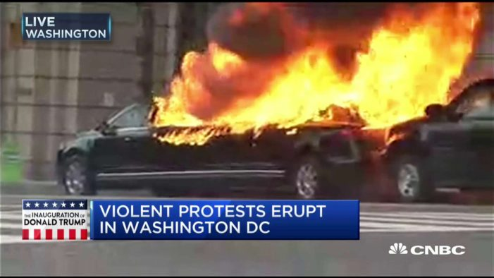Who was the proud owner of that limo the leftists torched on Inauguration day?