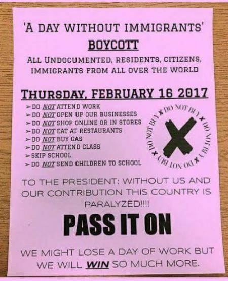 'Day Without Immigrants' planned: 'Without us this country is paralyzed'