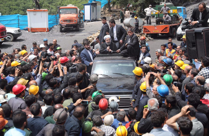 Iranian coal miners attack Rouhani's car at disaster site