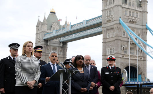 Mayor of London Sadiq Khan speaks during a vigil to remember the victims of the attack on London Bridge and Borough Market, at Potters Field Park, in central London