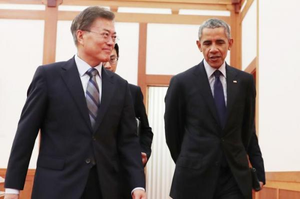 Talk, talk, launch: S. Korea's Moon huddled with Obama three days after meeting Trump