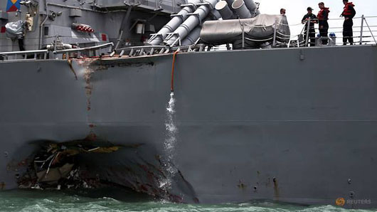 U.S. Pacific fleet halts ops after 4th incident in 2017; USS John McCain collides with tanker
