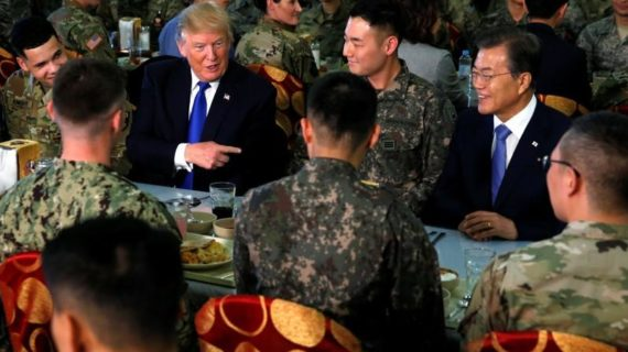 Trump turns down 'fancy lunch' with S. Korean president, eats with the troops