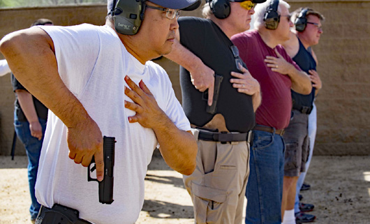 Terror concerns spur shooting and concealed weapon class attendance.