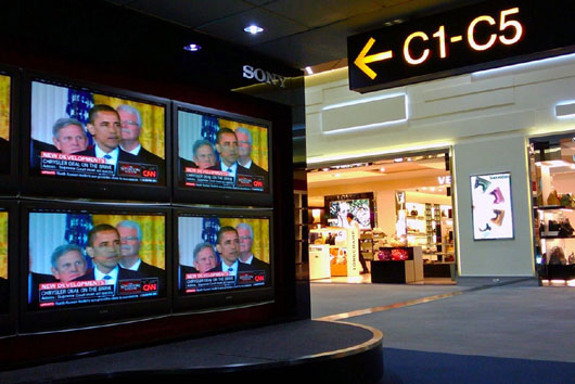 CNN'S monopoly on 'public spaces', especially airports, comes under attack