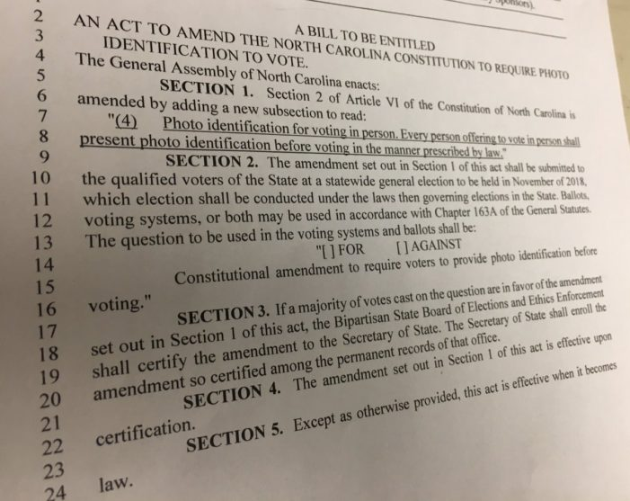 NC bill would put Voter ID constitutional amendment on the ballot