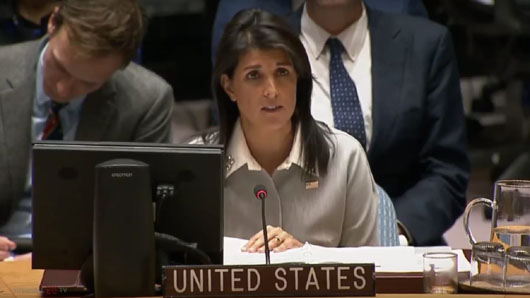 U.S. Amb. Haley slams UN resolution, charges Hamas with 'inciting violence'
