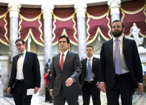 House Majority Leader Eric Cantor with aides in the Capitol.