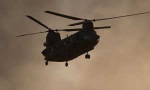 A Chinook helicopter in Helmand province, Afghanistan.