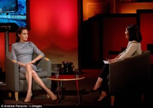 Angelina Jolie, interviewed by the BBC's Mishal Husain today, took aim at politicians for 'preying on the fear' that uncontrolled migration can cause. /Andrew Parsons/i-Images
