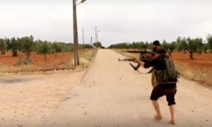 Image from footage of fighting between ISIL and rebel forces near Azaz, Syria.