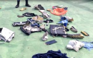 image taken from video posted Saturday, May 21, 2016, on the official Facebook page of the Egyptian Armed Forces spokesman shows personal belongings and other wreckage of EgyptAir flight 804. /Egyptian Armed Forces via AP
