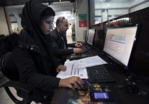 Iranians at an Internet cafe in Teheran.