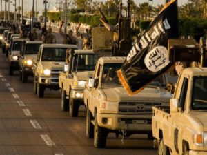 ISIL jihadists parade through Sirte, Libya.