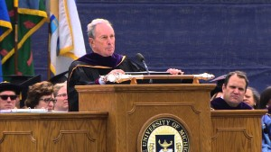 Michael Bloomberg speaks at the University of Michigan commencement on April 30. /YouTube