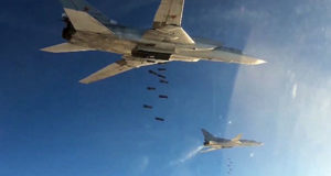 Tu-22 strategic bombers of Russia's Aerospace Defense Forces over Syria.