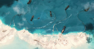 Chinese land reclamation work in the South China Sea.