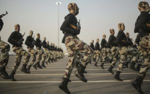 Security forces on parade in Mecca. Saudi Arabia almost tripled gun imports between 2012 and 2013. Photograph: Mosa'ab Elshamy/AP