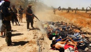 ISIL terrorists execute Iraqi civilians.