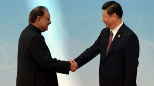 Pakistani President Mamnoon Hussain meets China's Xi Jinping in Tashkent.