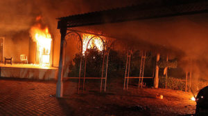 The U.S. consulate in Benghaz is engulfed in flames amid a terrorist attack on Sept. 11, 2012. /AFP/Getty Images