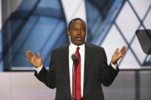 Ben Carson speaks on day two of the Republican National Convention. /Carolyn Cole/Los Angeles Times