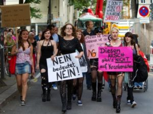 Women at a protest in support of broadening Germany's definition of rape.