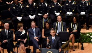 President Barack Obama speaks at a memorial service for fallen Dallas police officers on July 12. /AP