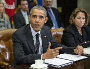 President Barack Obama and Lisa Monaco, assistant to the president for Homeland Security and Counterterrorism.  / Pablo Martinez Monsivais / AP
