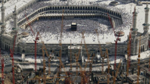Construction cranes at the Grand Mosque in Mecca. /AP