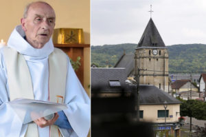 Priest Jacques Hamel was killed by two ISIS militants in his Normandy church (pictured, left) on Tuesday, July 26. /Getty Images