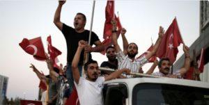 Turks protest outside of Incirlik air base on July 28.